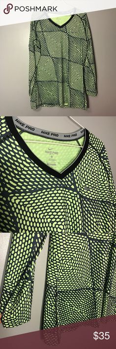 "Green Patterned Nike Pro Long Sleeve Green and Black Patterned Nike Pro Spandex Shirt. Great for a soccer goalie shirt or just normal wear. Excellent Condition! No Flaws. Size XL. Bust-19"" Length-29"" Nike Tops Tees - Long Sleeve"
