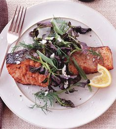 Salmon with Lemon-Pepper Sauce and Watercress-Herb Salad