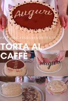 Torta di compleanno al caffè . Un dolce panna e caffè dal sapore deciso ma dal cuore tenero.