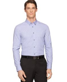 Calvin Klein End-On-End Check Slim-Fit Shirt