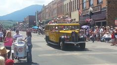 4th of July parade 2013 in Red Lodge, Montana My husbands grandmother turned 100 years old and was riding in the Yellowstone park bus. By Erin Thormahlen