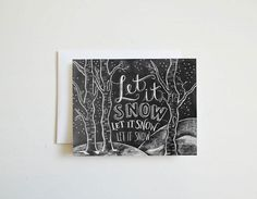Let it Snow Chalkboard Typography Greeting Card (set of 8)
