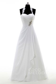 Pretty+Halter+Floor+Length+Chiffon+Ivory+Zipper+With+Button+Wedding+Dress+with+Beading+and+Pleating+CWXF15002