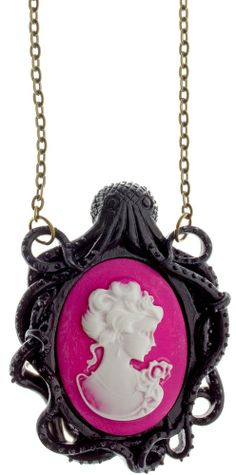SOURPUSS LIMITED EDITION OCTOPUS CAMEO NECKLACE  Add a little underwater Victorian flair to your collection with the Octopus Cameo Necklace! This Victorian inspired necklace features a black octopus cameo around a pink cabochon with a lovely Victorian lady in the center that hangs from an antiqued bronze chain.  $16.00