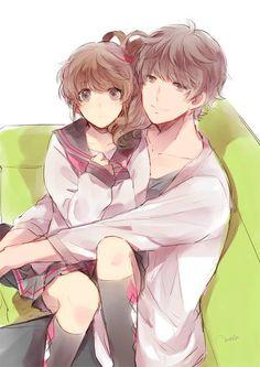 ✮ ANIME ART ✮ anime couple. . .romantic. . .love. . .sweet. . .sitting on lap. . .school uniform. . .seifuku. . .sailor uniform. . .knee socks. . .cuddling. . .cute. . .kawaii