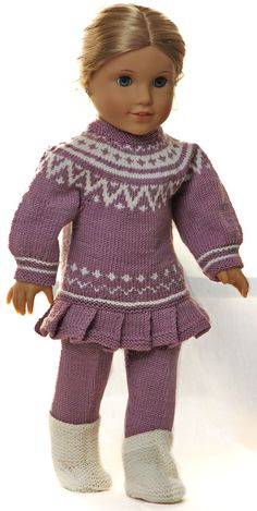 18 inch doll knitting patterns - Knit a great tunica in lilac and white for your doll