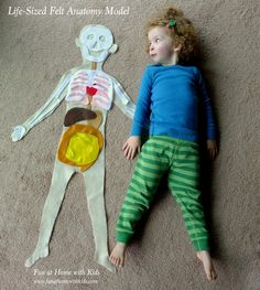 Cool, hands-on way to teach kids the parts of the body! Make a life-sized felt anatomy model. #preschool #kidscrafts #efl #education (repinned by Super Simple Songs)