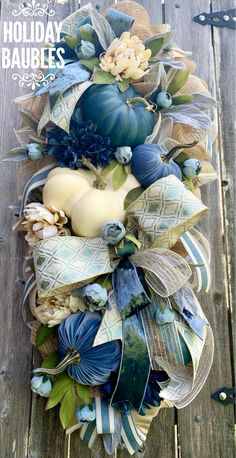HolidayBaubles on Etsy Thanksgiving Wreaths, Autumn Wreaths, Thanksgiving Decorations, Blue Fall Decor, Fall Home Decor, Fall Swags, Fall Floral Arrangements, Harvest Decorations, Autumn Decorating