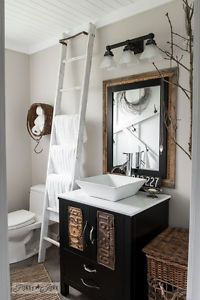 How to turn a modern bathroom into one filled with farmhouse charm! By Funky Junk Interiors written for #eBay.