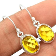 Faceted Baltic Amber 925 Sterling Silver Earrings Jewelry BARE9 - JJDesignerJewelry