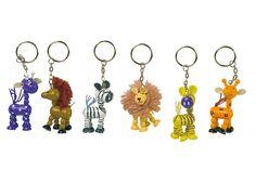 Set van 6. 6 verschillende kleurige dieren met een sleutelring.