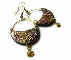 Crescent earrings, polymer clay jewelry, tribal inspired, brass spirals