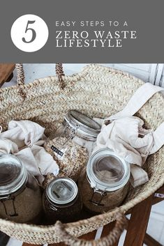 My top 5 easy steps to a zero waste lifestyle Zero Waste Store, Recycling Information, Homemade Cleaning Products, Slow Living, Clean Living, Food Staples, Food Waste, Green Life, Sustainable Living