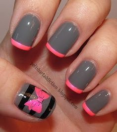 I love this! Gray nail polish with pink tips and cute stripes and bow design on the thumb! I would even do the bow on your ring finger also!