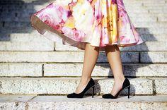 @ModCloth Floral Midi Skirt