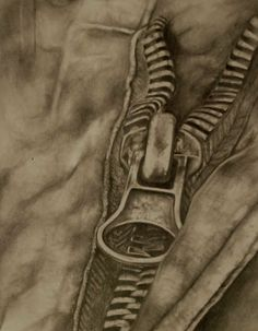 Tonal drawing showing realistic detail. Not to use as an artist to transcribe from - but just to see how beautifully drawn - idea of zips Zipper Drawing, Close Up Art, Observational Drawing, Still Life Drawing, A Level Art, Gcse Art, Drawing Clothes, Elements Of Art, Everyday Objects