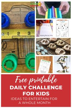 Looking for some daily challenges for kids? Then look no further and get some inspiration from this post. Free printable included! Click through to post or Pin it for later! #dailychallenges #makerchallenge #kidsactivities #parentingtips #kids #parentingblog #freeprintables #activities #printables