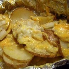 Cheesy Campfire Potatoes - in foil packets