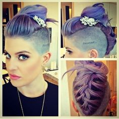 Kelly Osbourne hair and the most beautiful female singers. Purple, mermaid, gray, like ash pink hair using many different colors. I chose all his hair color. Kelly Osbourne, Mohawk Hairstyles, Pretty Hairstyles, Wedding Hairstyles, Wedding Updo, Shaved Hairstyles, Holiday Hairstyles, Celebrity Hairstyles, Cabelo Pin Up