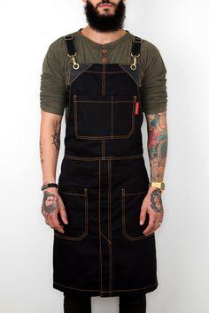 Cross-Back Apron - Black Denim - Split-Leg - Black Leather