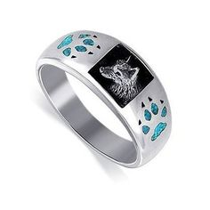 Sterling Silver Turquoise Inlay Wolf Southwestern Style Band Mens Ring 67