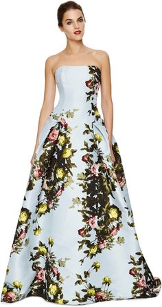 Carolina Herrera Rose Painting Jacquard Strapless Gown
