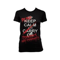(Cybertela) Keep Calm and Carry On Run Zombies Are Coming Junior... ❤ liked on Polyvore featuring 10. tops., tops and shirts