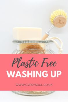 Plastic free washing up routine - eco friendly, green living, zero waste kitchen tips Eco Friendly Cleaning Products, Homemade Cleaning Products, Plastik Recycling, Sustainable Gifts, Sustainable Living, Washing Soap, Dishwasher Soap, Eco Friendly House, Plastic Waste