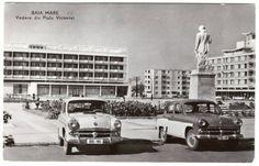 Piata Victoriei, Baia Mare Cars And Motorcycles, Street View, Retro, Vintage, Motorbikes, Vintage Comics, Retro Illustration