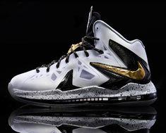 ca16d4e0 Nike LeBron X P.S. Elite+ White/Gold Nike Lebron, Nike Basketball Shoes,  Nike