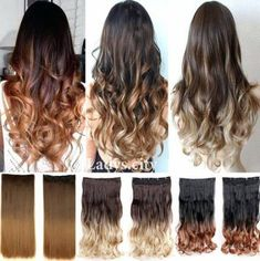 Trendy Hair Ombre Curly Dip Dye - All For Hair Color Trending Ombre Curly Hair, Dyed Hair Ombre, Dip Dye Hair, Brown Ombre Hair, Blonde Dip Dye, Dyed Blonde Hair, Blonde Hair With Highlights, Colored Hair Extensions, Clip In Hair Extensions