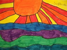 This horizon line/warm/cool color lesson would be great for first grade:)