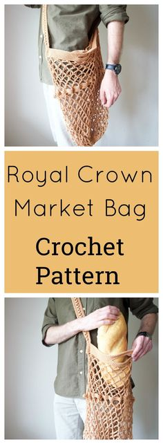 The Royal Crown Market bag! Free crochet pattern on this market bag with photo tutorial. DIY, perfect for earth day and made with 2 balls of yarn of 24/7 cotton from Lion Brand Yarn