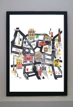 Browse Online and Shop in East London, UK. London Map, East London, Leeds Map, Limited Edition Prints, Framed Art Prints, Drawings, Illustration, Artist, House