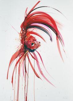 Dave White – Aquatic @ Lawrence Alkin Gallery, London - Siamese Fighting Fish I, 2013 Watercolour on Fabriano Artistico 610gm (76 x 56 cm)