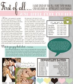 Smart 1 pager to give the bridal party all of the for Bridesmaid newsletter template