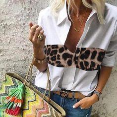2020 Celmia Women Sexy V-Neck Blouses Long Sleeve Leopard Stitching Tunic Tops Casual Loose Shirt Ladies Elegant Blusas Feminina Elegantes Outfit Frau, Loose Shirts, Basic Tops, Long Blouse, White Long Sleeve, Half Sleeves, Shirt Blouses, Blouses For Women, Colorful Shirts