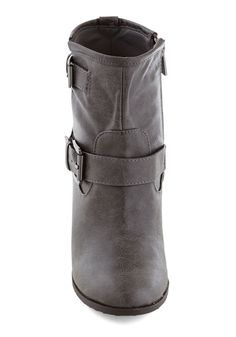Language Tutor Boot. You set down the books youve brought and cross one grey bootie over the other. #grey #modcloth