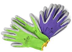 Garden Gloves for Women Nitrile Coating for Protection Soft and Breathable Nylon 2 PAIRS Large ** Click image to review more details.