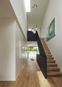 Use of black and white and timber and also steps into wall