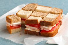 Kids will love eating this checkerboard sandwich with a surprise spread on the bread!