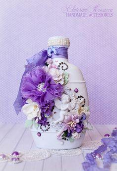 Декоративная бутылочка с лавандовым настроением.. Handmade.