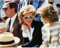 🔱Princess Diana circa 1988... in her navy and white Catherine Walker suit, and white sunglasses to match. Princess Diana wore this suit then, Windsor Pentathalon, Windsor Park, or the Harrods Trophy Challenge same year..🔱