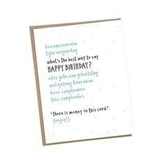 Funny Happy Birthday Card • Money card • Best Way to Say Happy Birthday Languages • Gift Card Holder • Money gift