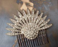 1920s Art Deco TRUE Vintage Flapper Rhinestone Bridal Fan Hair Comb, Pave Crystal Encrusted Heirloom Brooch Haircomb Gatsby