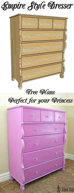 Woodworking Projects Gun The perfect dresser for my little princess. Free plans to build a roomy Empire dresser with 7 drawers.Woodworking Projects Gun The perfect dresser for my little princess. Free plans to build a roomy Empire dresser with 7 drawers. Furniture Plans, Rustic Furniture, Diy Furniture, Antique Furniture, Furniture Makers, Antique Dressers, Craftsman Furniture, Building Furniture, Furniture Stores
