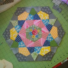 """krista stitched: rose star block.  More than 15"""" wide.  Lovely!"""