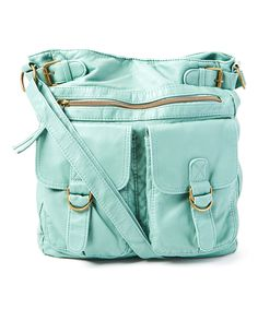 Look at this T-Shirt & Jeans Aqua Washed Double Pocket Crossbody Bag on #zulily today!
