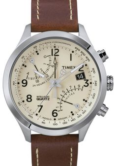 Timex Men's T2N932 Intelligent Quartz Fly-Back Chronograph Leather Strap Watch added onto men watches