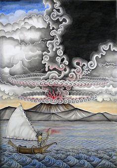 Volcano, watercolour, I. Wayan Budiata, Bali, 2014